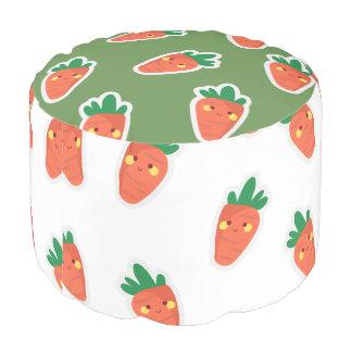 Whimsical cute chibi vegetable pattern pouf