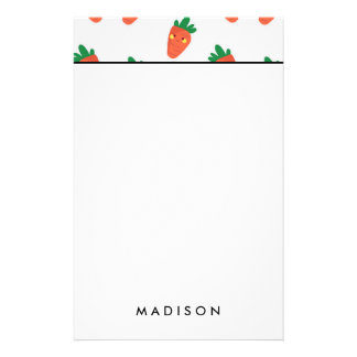 Whimsical cute chibi vegetable pattern stationery