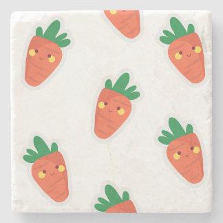 Whimsical cute chibi vegetable pattern stone coaster