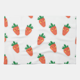 Whimsical cute chibi vegetable pattern tea towel