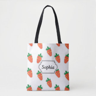 Whimsical cute chibi vegetable pattern tote bag