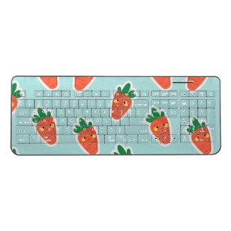 Whimsical cute chibi vegetable pattern wireless keyboard