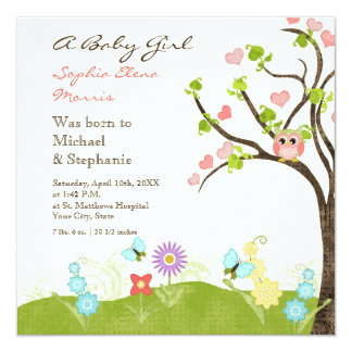 Whimsical Cute Owls Tree of Life Heart Leaf Swirls 13 Cm X 13 Cm Square Invitation Card