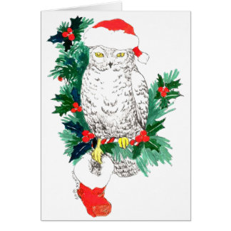 Whimsical Cute Snowy Owl Stocking Christmas Card