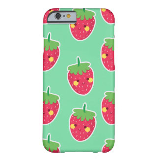 Whimsical Cute Strawberries character pattern Barely There iPhone 6 Case