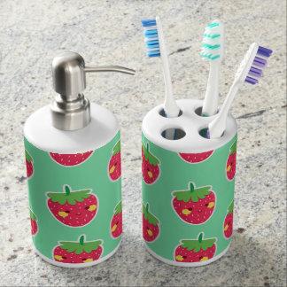 Whimsical Cute Strawberries character pattern Bathroom Set