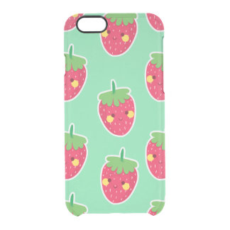 Whimsical Cute Strawberries character pattern Clear iPhone 6/6S Case