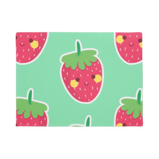 Whimsical Cute Strawberries character pattern Doormat