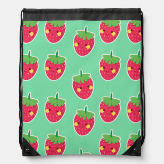 Whimsical Cute Strawberries character pattern Drawstring Bag