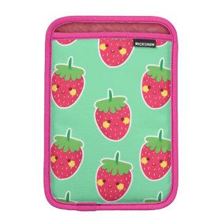 Whimsical Cute Strawberries character pattern iPad Mini Sleeve