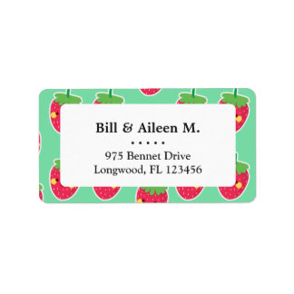 Whimsical Cute Strawberries character pattern Label