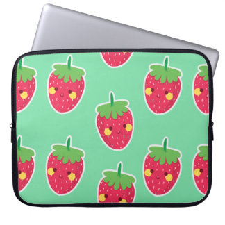 Whimsical Cute Strawberries character pattern Laptop Sleeve