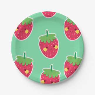 Whimsical Cute Strawberries character pattern Paper Plate