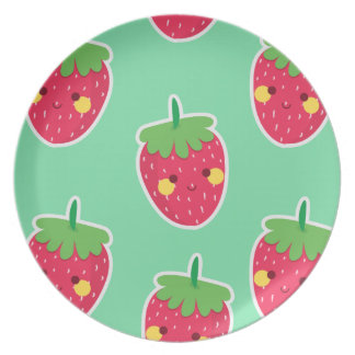 Whimsical Cute Strawberries character pattern Party Plate