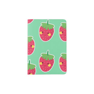 Whimsical Cute Strawberries character pattern Passport Holder