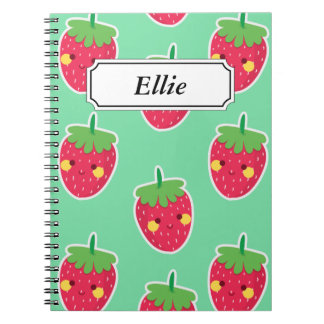 Whimsical Cute Strawberries character pattern Spiral Notebook