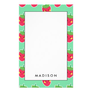 Whimsical Cute Strawberries character pattern Stationery