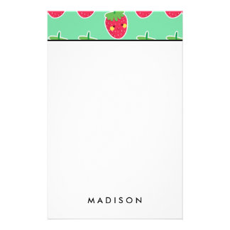 Whimsical Cute Strawberries character pattern Stationery Design