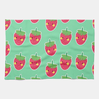 Whimsical Cute Strawberries character pattern Tea Towel