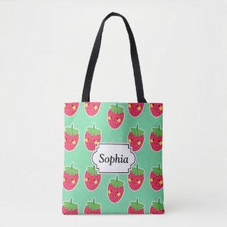 Whimsical Cute Strawberries character pattern Tote Bag