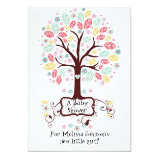 Whimsical Cute Swirl Heart Flower Tree Baby Photo 13 Cm X 18 Cm Invitation Card