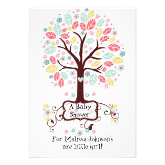 Whimsical Cute Swirl Heart Flower Tree Baby Photo Card