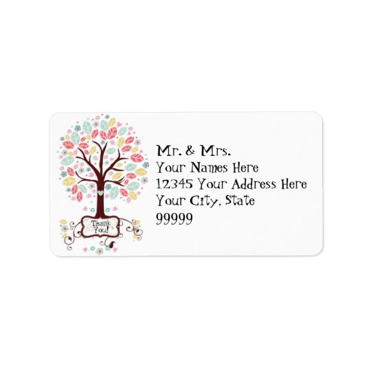 Whimsical Cute Swirl Heart Flower Tree Baby Shower Address Label