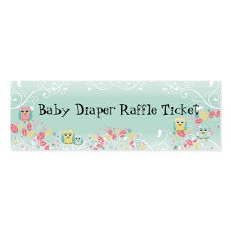 Whimsical Cute Swirl Owl Baby Diaper Raffle Ticket Pack Of Skinny Business Cards
