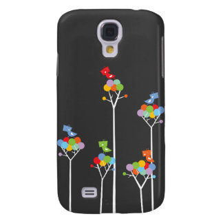 Whimsical Cute Tweet Birds Colorful Fun Tree Dots Samsung Galaxy S4 Covers