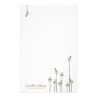 Whimsical Cute Tweet Birds Colorful Fun Tree Dots Stationery