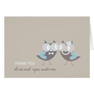 Whimsical Cute Wedding Brown Blue Owls Thank You Card