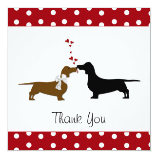 Whimsical Dachshunds Thank You Card 13 Cm X 13 Cm Square Invitation Card