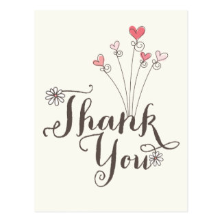Whimsical Daisies Pink Hearts Birthday Thank You Postcard