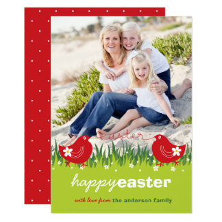 Whimsical Daisies Red Chicks Easter Photo Card