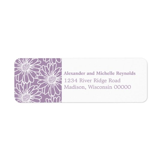 Whimsical Daisies Return Address Labels, Purple Return Address Label