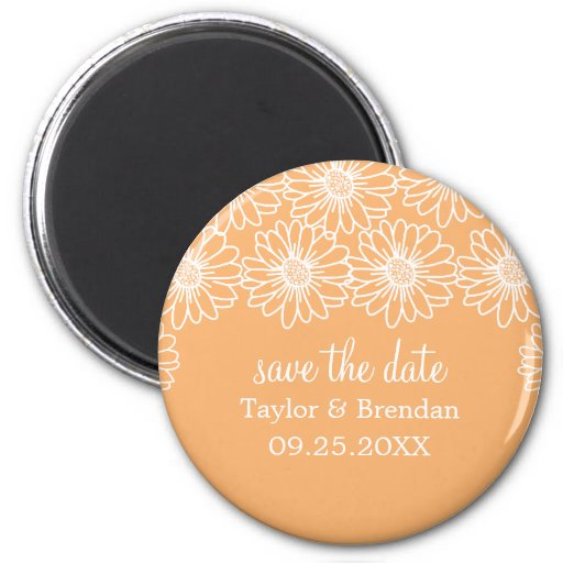 Whimsical Daisies Save the Date Magnet, Coral 6 Cm Round Magnet