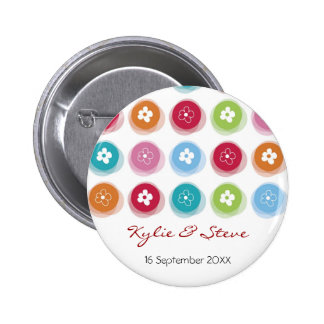 Whimsical Daisy Fuzzy Color Dots Wedding Button