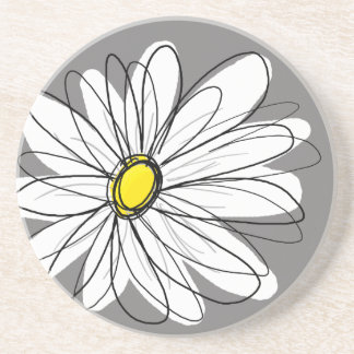 Whimsical Daisy in gray and yellow Beverage Coaster