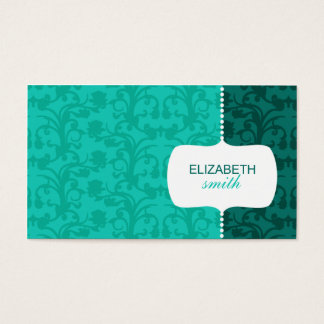 Whimsical Damask Blue Business Card