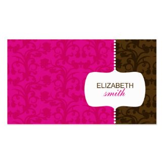 Whimsical Damask Pink Brown Business Card