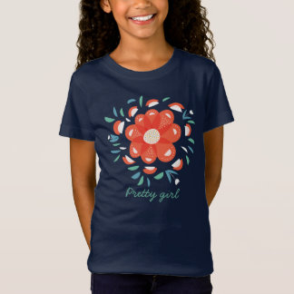 Whimsical Decorative Red Flower Pretty Girl T-Shirt