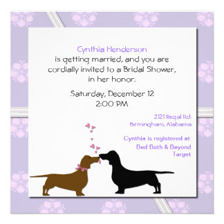 Whimsical Dogs Bridal Shower Invitation