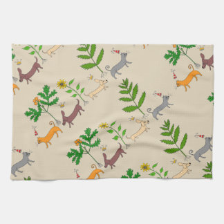Whimsical Dogs Cats and Plants Kitchen Towel
