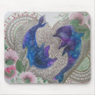 Whimsical dolphins mouse pad