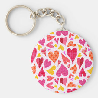 Whimsical Doodle Hearts with Patterns and Texture Basic Round Button Key Ring