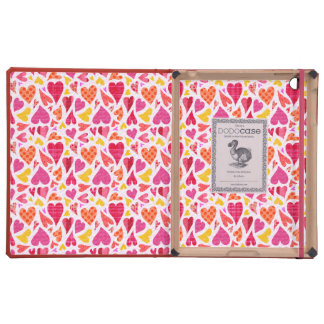 Whimsical Doodle Hearts with Patterns and Texture Cover For iPad