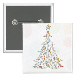 whimsical doodles christmas tree pinback buttons