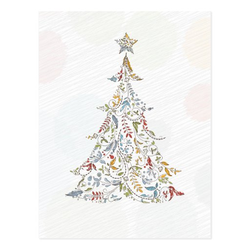 whimsical doodles christmas tree post cards