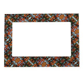 Whimsical Dragonflies Blue Orange Pattern Magnetic Picture Frame