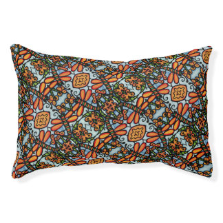 Whimsical Dragonflies Blue Orange Pattern Pet Bed